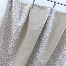 MALINKA*Stoff fabric Meterware Leinen natur weiss bestickt Nya Nordiska
