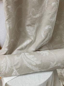 VIALLON  Meterware Stoff bestickt Leinen Gardine fabric weiss-natur JAB