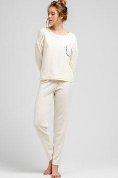 Pyjama Damen Set aus weichem Velours in Elfenbeinfarbe