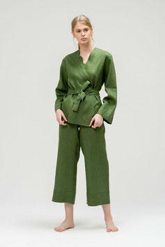 Damen Pyjama Set aus Leinen in grün
