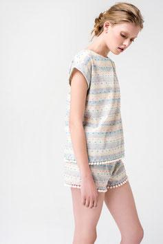 Pyjama Damen mit farbigen Streifen