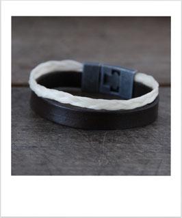 Armband Pferdehaar breitem Lederband und Knebelverschluss silber