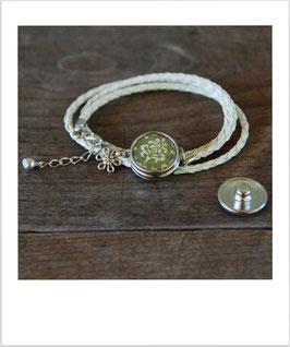 Wickelarmband mit 1 wechselbarem Druckknopf natur geflochten