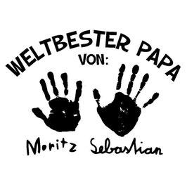 Bügelbild Wunschtext mit  Hand- oder Fußabdrücken deiner Kinder