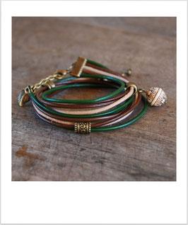 Wickelarmband dunkelgrün/braun/natur