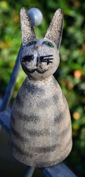 Zaunhocker Metall Katze 2 getigert