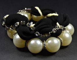 Armbandset Stoffarmband mit Perlenarmband