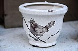 Blumentopf Vogel Keramik glasiert