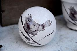 Dekokugel Vogel Keramik glasiert