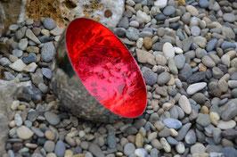 Schwimmschale Metall geprägt klein mit Effektbeschichtung rot