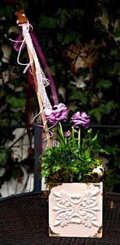 Blumentopf Holz glasiert altrose Vintage-Look