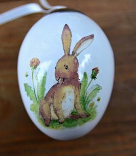 """Keramik Osterei """"Kleiner Hase mit Löwenzahn"""""""