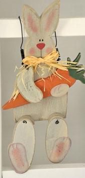 Osterhase Josef aus Holz zum Sitzen oder Aufhängen