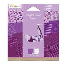 Papier feuille Origami violet - Avenue Mandarine