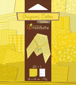 Papier feuille Origami Jaune - Avenue Mandarine