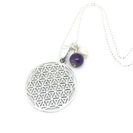 Diamantschliff-Halskette `Blume des Lebens` - 80cm