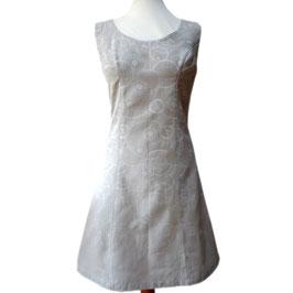 Robe Chasuble - Gris clair motifs écrus - Pièce Unique