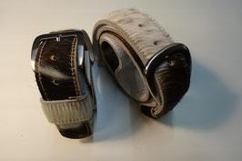 Kuhfellgürtel - braun/weiß