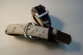 Kuhfellgürtel - schwarz/weiß