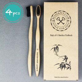 4er Pack Bambus Zahnbürste by BLISSANY® - aus nachhaltigem Bambus-Holz, 100% BPA-frei, vegan, umweltfreundlich - für gesunde und weiße Zähne (4 Stück)
