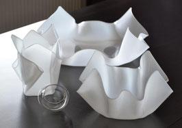 Schalen & Vasen 4-Teile Set-03 mittel flach Satin (Milchglas)