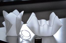 Acrylglas Schalen & Vasen 3-Teile Set-01 in Satin (Milchglas)