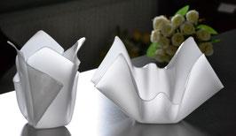 Schalen & Vasen 2-Teile Set-02 mittel rund Satin (Milchglas)