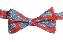 Selbstbinder - rot/blau Paisley / türkis (bindbar auf beiden Seiten)