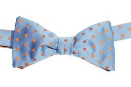 Selbstbinder - hellblau mit orangen Punkten