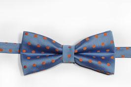 Fliege - hell blau mit orangen Punkten