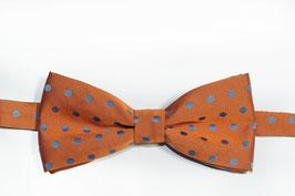 Fliege - orange mit blauen Punkten