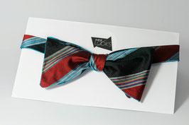 Selbstbinder - türkis blau/rot gestreift