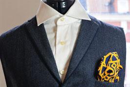 Tuch - gelb mit dunkelblauem Muster