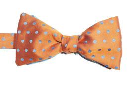 Selbstbinder - orange mit blauen Punkten