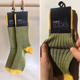 Socken - gelb mit blauen Streifen