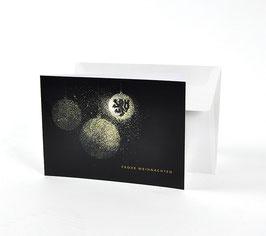 Weihnachtskarte Motiv Kugeln schwarz