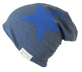 "Winter Beanie ""Jeans hell, Stern royalblau"""