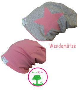"""Wendebeanie """"Uni grau Stern rosa"""""""