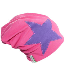 "4 in 1 Bio Wendebeanie ""Star lila pink"""
