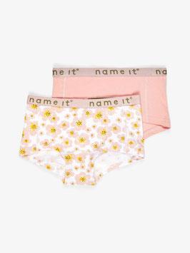 Name it 2er Pack Hipster Floral rosa/Uni rosa