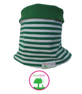 """Loop """"Ringel grün/weiß, Uni grün"""""""