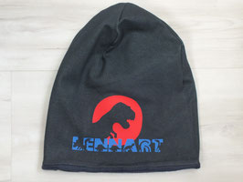 "Winter Beanie ""Jeans navy, Dino rot"" Mit Name"