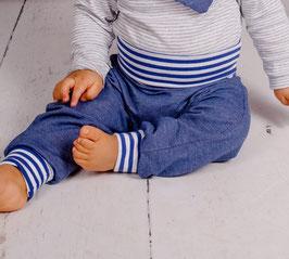 Mitwachs-Jeans Ringel blau-weiß