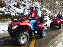 Snow ATV tour driver and passenger!