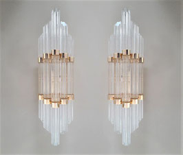 Pair of Novaresi Milano wall sconces in 24K Gold-Plated and Murano Glass, Italy, 1980s