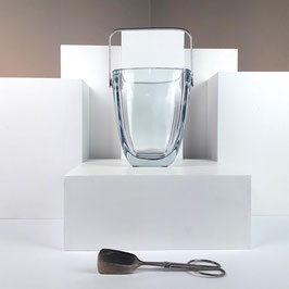 Strömbershyttan aqua-blue-silver clear crystal ice-bucket, sweden, 1940s