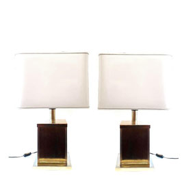 Pair of Paolo Traversi Milano, Brass table Lamps 1970s
