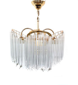 Venini four-rings 24krt plated, crystal prism Chandelier, 1980s