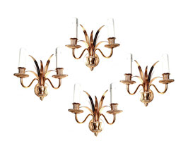 French polish brass pineapple leaves wall lamps in the style of Maison Charles, 1970s.