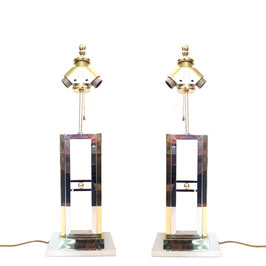 Pair of WILLY RIZZO Table Lamps for LUMICA 1970's